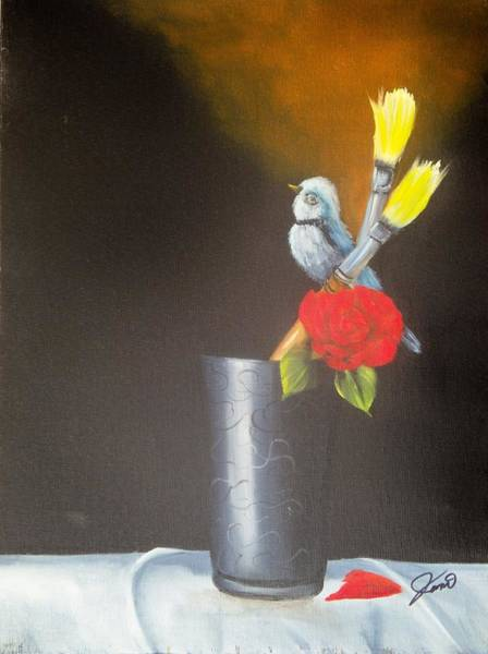 Painting - Bird And Brushes by Joni McPherson