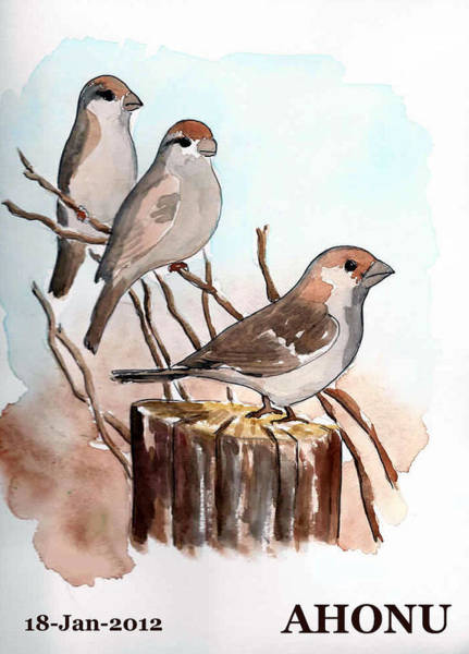 Painting - Birds On A Tree Trunk by Ahonu