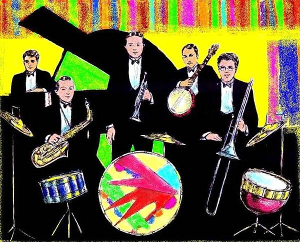 Sax Drawing - Bix Bandstand by Mel Thompson