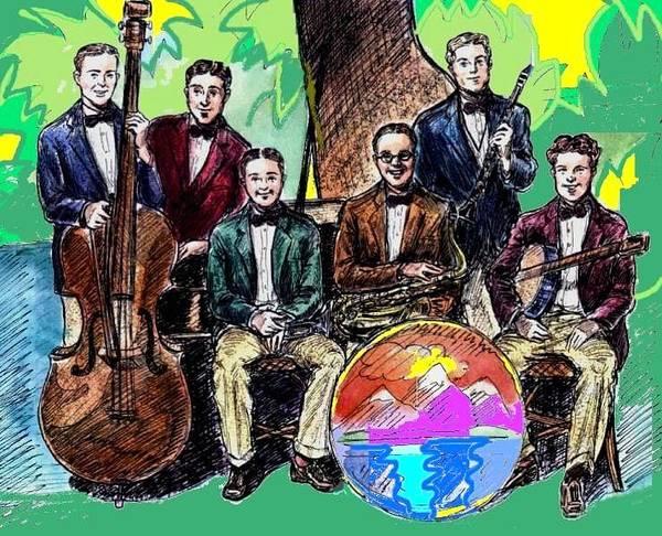 Sax Drawing - Bix Jazz Band by Mel Thompson