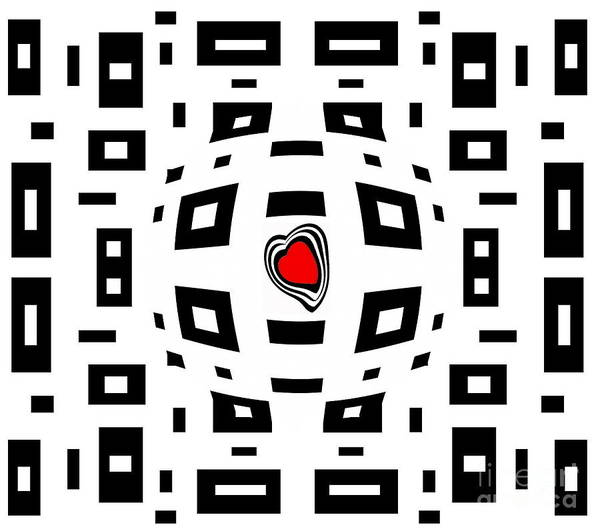 Digital Art - Geometric Abstract Black White Red Art No.220. by Drinka Mercep