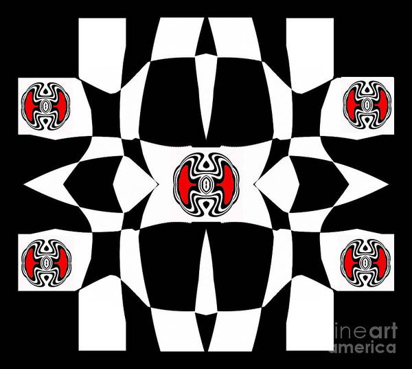 Respect Digital Art - Black And White And Red Op Art No.130. by Drinka Mercep