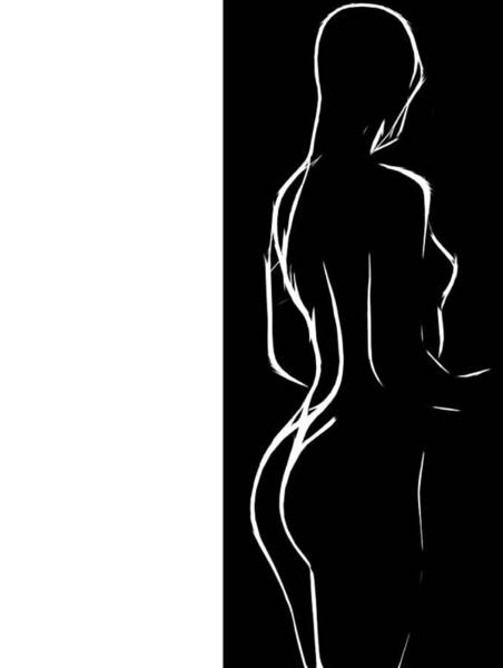 Virgen Digital Art - Black And White Erotic by Steve K
