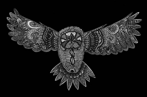 Wall Art - Drawing - Black And White Owl by Karen Elzinga