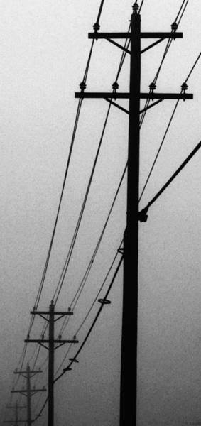 Utility Pole Photograph - Black And White Poles In Fog Left View by Tony Grider