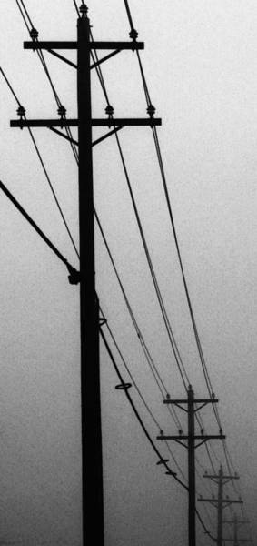 Utility Pole Photograph - Black And White Poles In Fog Right View by Tony Grider