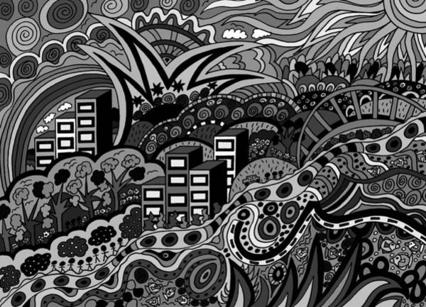 Wall Art - Drawing - Black And White Seaside by Karen Elzinga
