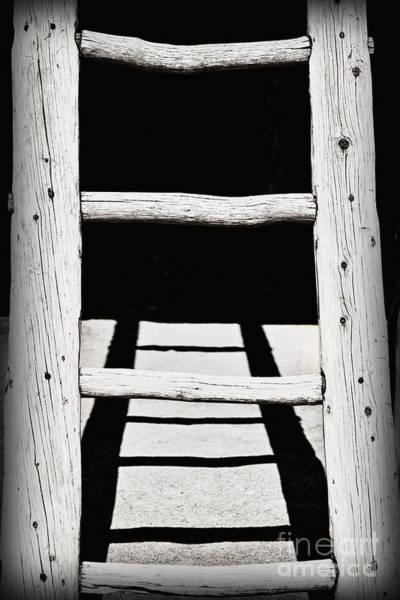 Rungs Wall Art - Photograph - Black And White Wooden Ladder by Bryan Mullennix