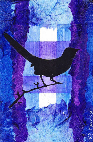 Transfer Mixed Media - Black Bird Branching Out by Karen Pappert
