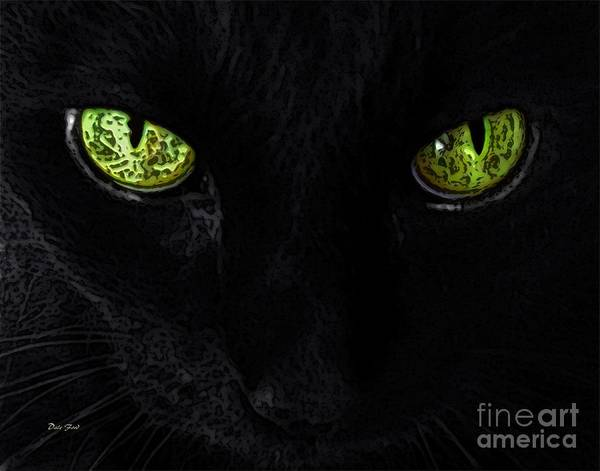 Digital Art - Black Cat Mystique by Dale   Ford