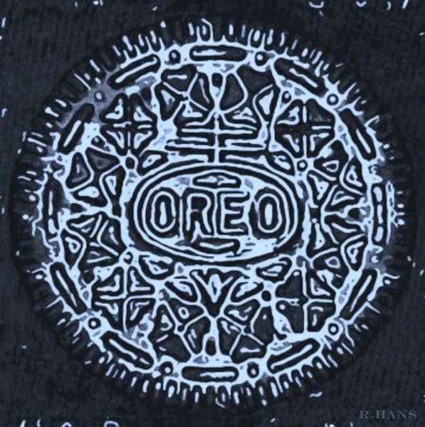 Nabisco Photograph - Black Cyan Oreo by Rob Hans