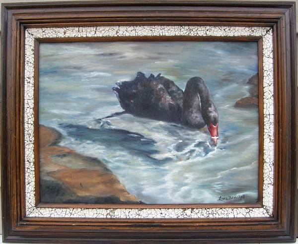 Water Foul Painting - Black Elegance Framed by Lori Brackett
