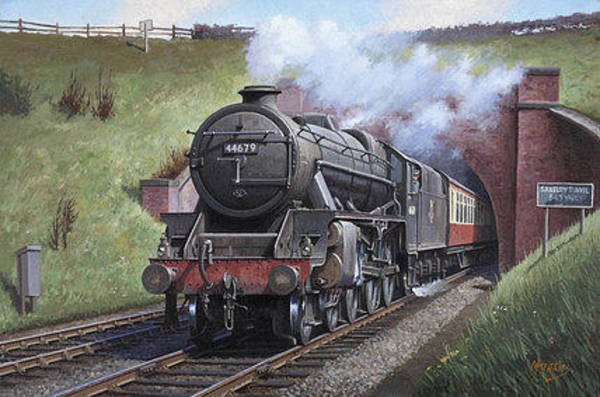 Vintage Train Painting - Black Five. by Mike Jeffries