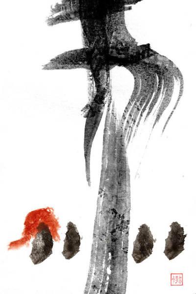 Black Ink Red Paint Art Print