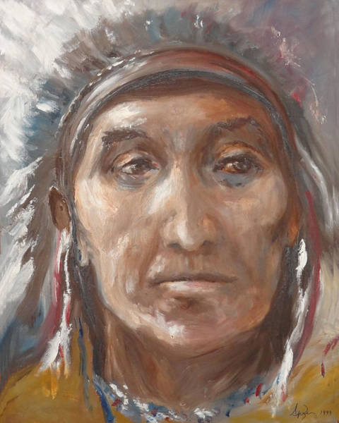 Sand Creek Painting - Black Kettle by Spike Burrows