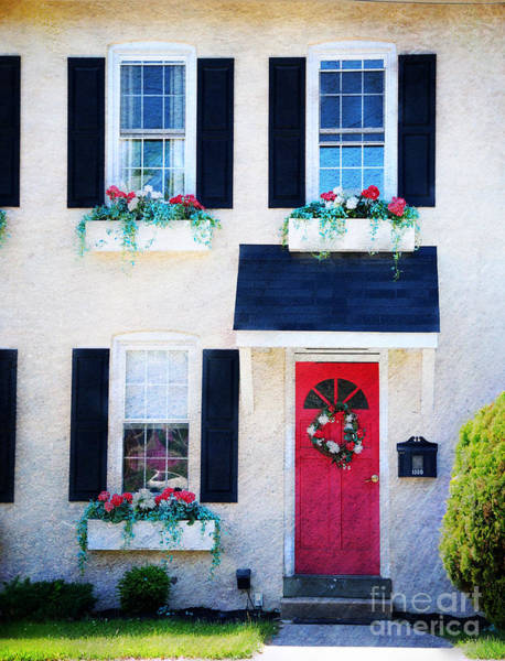 Wall Art - Photograph - Black Window Shutters With Flowers by Paul Ward