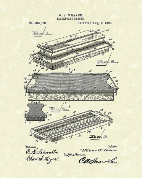 1800s Wall Art - Photograph - Blackboard Eraser 1893 Patent Art by Prior Art Design