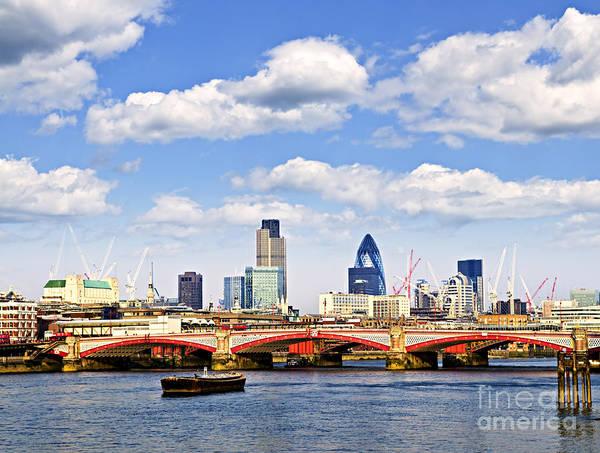 Wall Art - Photograph - Blackfriars Bridge With London Skyline by Elena Elisseeva