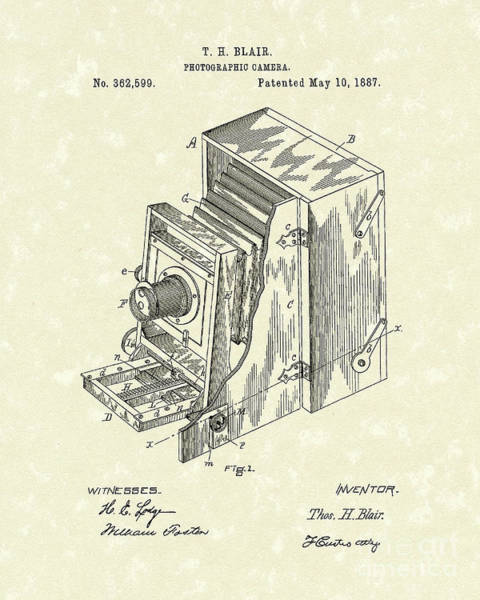 Drawing - Blair Photographic Camera 1887 Patent Art by Prior Art Design