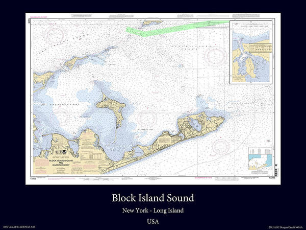 Noaa Chart Wall Art - Photograph - Block Island Sound by Adelaide Images