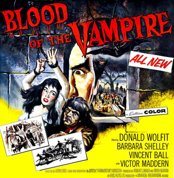 1958 Movies Photograph - Blood Of The Vampire, From Left Barbara by Everett