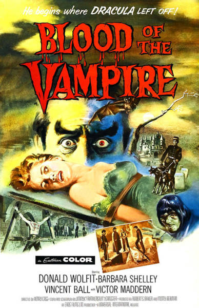 1958 Movies Photograph - Blood Of The Vampire, Woman On Table by Everett