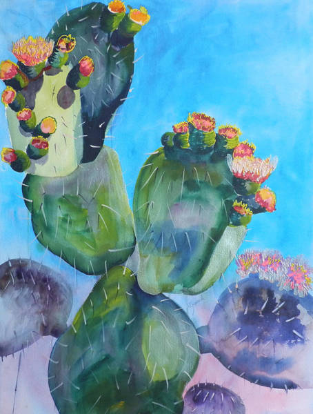 Elwood Blues Painting - Blooming Cactus by Jann Elwood