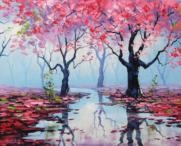 Pink Blossom Painting - Blossom Trees Reflections by Graham Gercken