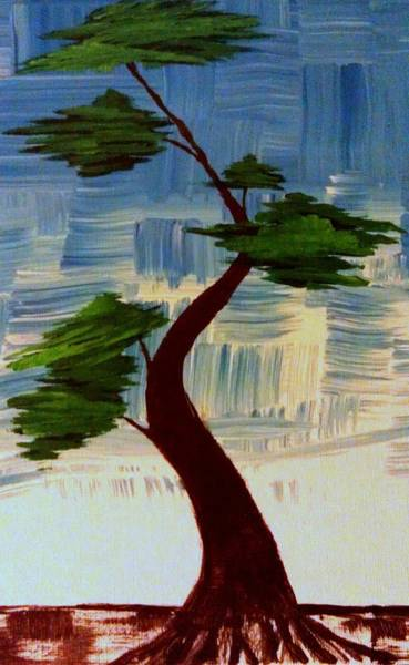Painting - Blue Abstract Bonsai Tree by Brad Scott