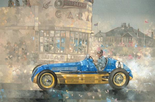 Maserati Painting - Blue And Yellow Maserati Of Bira  by Peter Miller