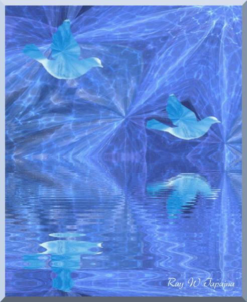 Mixed Media - Blue Bird Of Happiness by Ray Tapajna