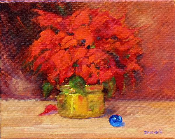 Christmas Flowers Painting - Blue Bulb by Laura Lee Zanghetti