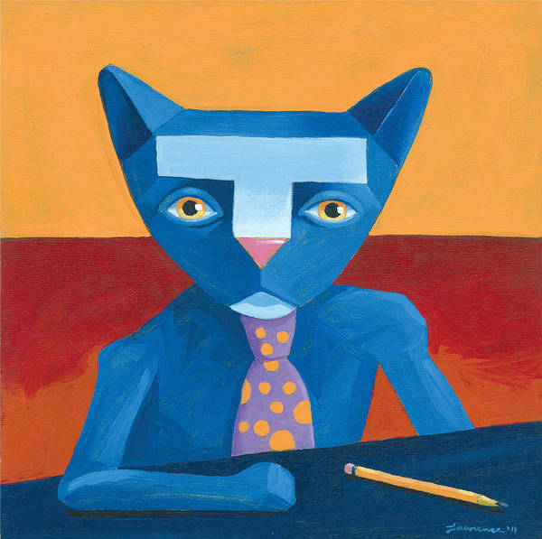Wall Art - Painting - Blue Business Cat by Mike Lawrence