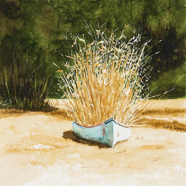 Blue Canoe Art Print by Carla Dabney