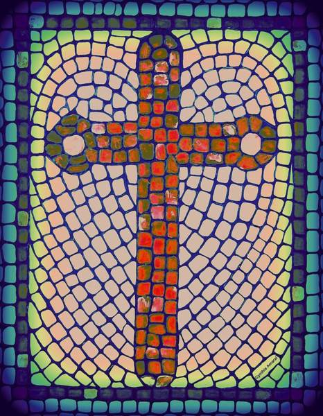 Art Print featuring the painting Blue Cross by Cynthia Amaral