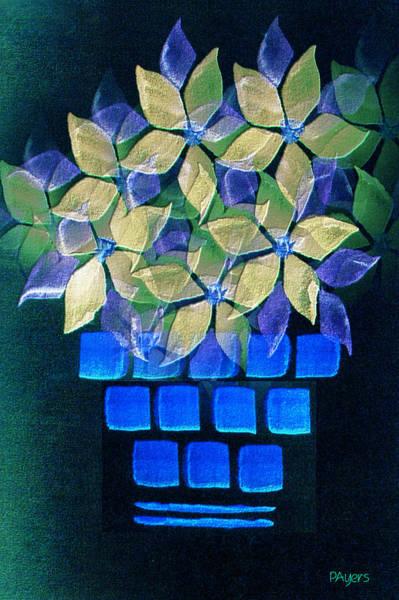 Blue Wall Art - Mixed Media - Blue Flower Pot by Paula Ayers