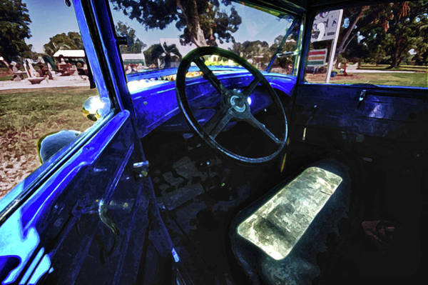 Pick Up Truck Digital Art - Blue Ford Interior by Michael Thomas