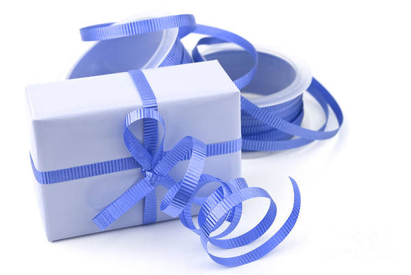 Gift Wrap Photograph - Blue Gift by Blink Images