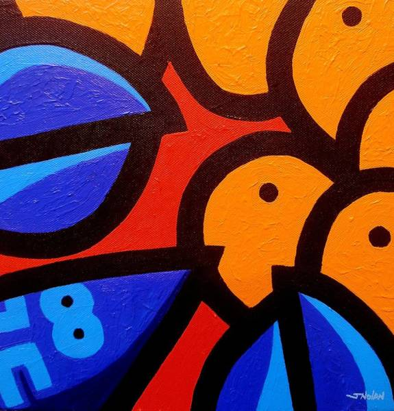 Window Frame Painting - Blue Lobster And Oranges by John  Nolan