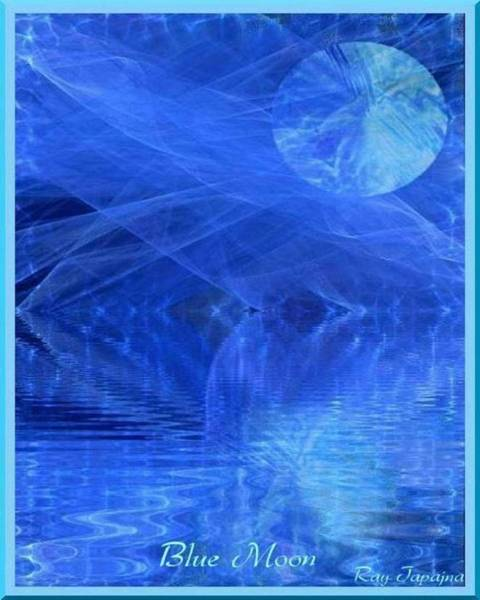 Mixed Media - Blue Moon Healing In Blue by Ray Tapajna