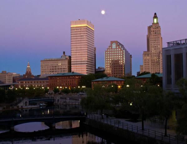 Photograph - Blue Moon Over Downtown Providence 2 by Nancy De Flon
