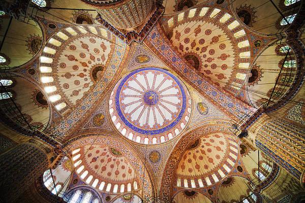 Sultan Ahmet Camii Wall Art - Photograph - Blue Mosque Domed Ceiling by Artur Bogacki
