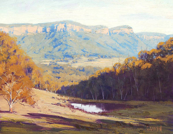 Dam Wall Art - Painting - Blue Mountains Valley by Graham Gercken