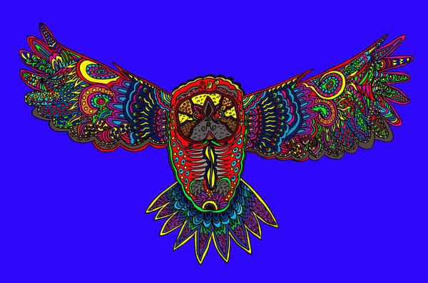 Wall Art - Digital Art - Blue Owl by Karen Elzinga