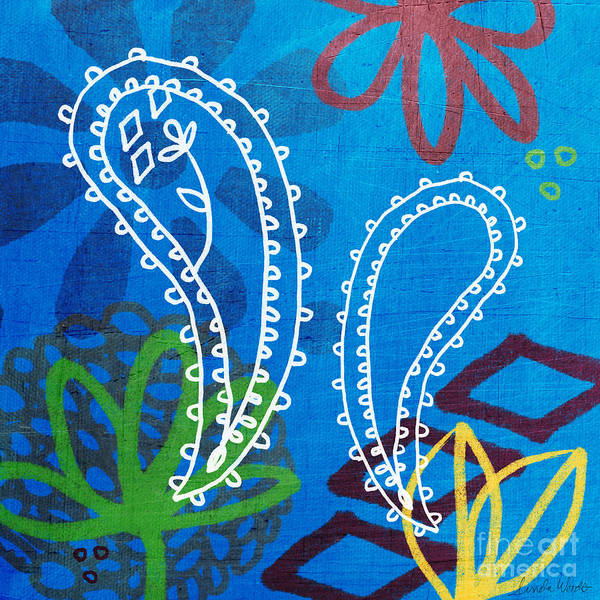 West Indian Wall Art - Painting - Blue Paisley Garden by Linda Woods