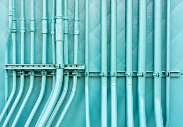 Manufacturing Plant Wall Art - Photograph - Blue Pipes by Tom Gowanlock