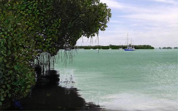 Digital Art - Blue Sailboat by Tony Rodriguez