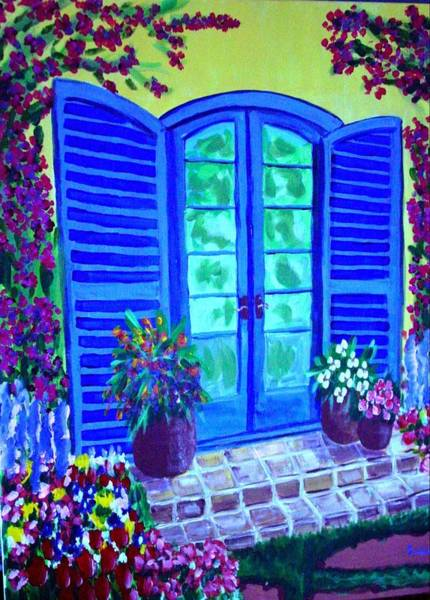 Painting - Blue Shutters by Laurie Morgan