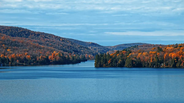 Photograph - Blue Sky And Lake Above And Below - Orange Fall Foliage In Between by Chantal PhotoPix