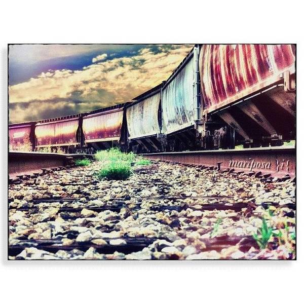 Edit Photograph - Blue Sky Train by Mari Posa